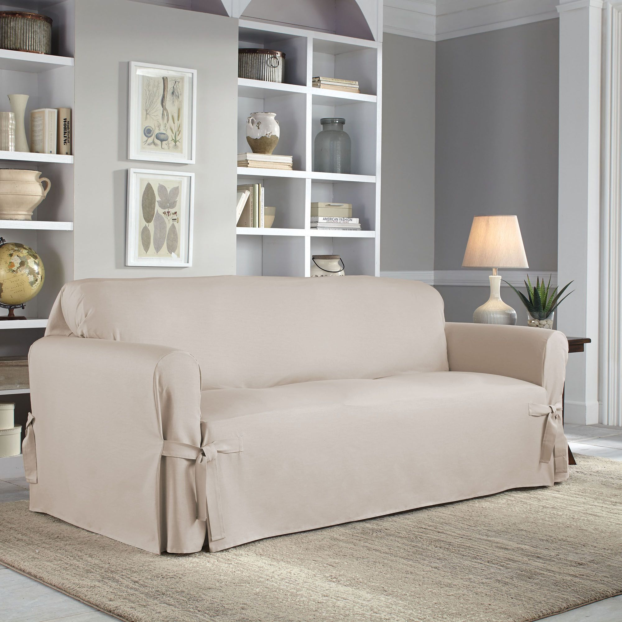 Sofa Slipcovers Couch Covers And Furniture Throws Bed Bath Beyond ~ White Linen Sofa Slipcover