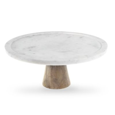 image of Artisanal Kitchen Supply® White Marble and Wood Cake Stand