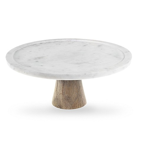 Artisanal Kitchen Supply® White Marble and Wood Cake Stand  sc 1 st  Bed Bath \u0026 Beyond & Cake Plates | Cake Stands | Dessert Servers | Bed Bath \u0026 Beyond