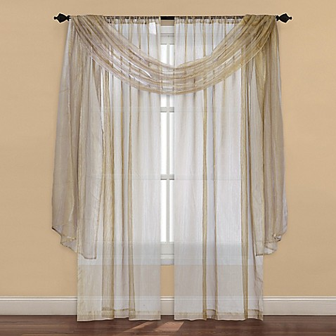 Strive Sheer Window Curtain Panel And Scarf Valance Bed