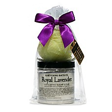 image of B. Witching Bath Co. Lavender Sugar Scrub and Brush Gift Set