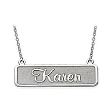 image of 14K Gold 18-Inch Chain Satin Finish Nameplate Necklace