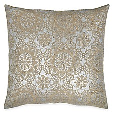 image of Metallic Lace Square Throw Pillow in Taupe