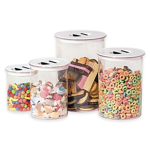 oggi 4 piece round stack n store canister set bed bath oggi canisters amp spice jars glass 8 piece set kitchen