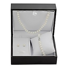 image of Sterling Silver Freshwater Cultured Pearl 3-Piece Necklace, Bracelet and Earring Set w/Jewelry Box