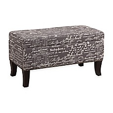 image of stephanie patterned linen ottoman - Storage Cube Ottoman