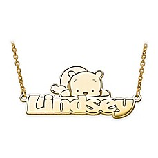image of Disney® Sterling Silver or Gold-Plated 18-Inch Winnie-the-Pooh Nameplate Necklace