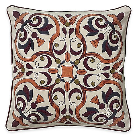 Square Throw Pillow Pattern : Buy Rizzy Home Embroidered Pattern Square Throw Pillow from Bed Bath & Beyond