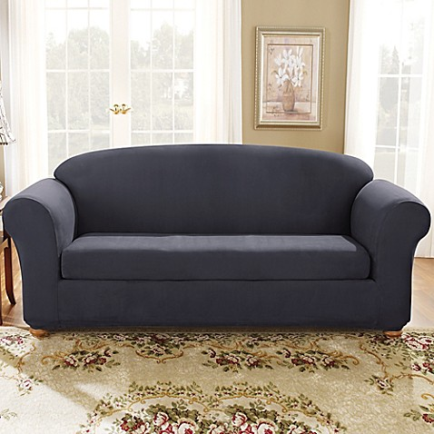 Sure Fit 174 Stretch Suede Bench Seat Sofa Slipcover In Storm