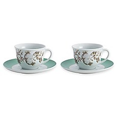 image of BonJour® Fruitful Nectar 4-Piece Teacup and Saucer Set in Turquoise