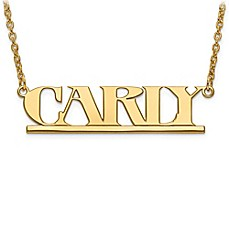image of Sterling Silver or 14K Gold-Plated Laser-Cut Block Font 18-Inch Chain Nameplate Pendant Necklace