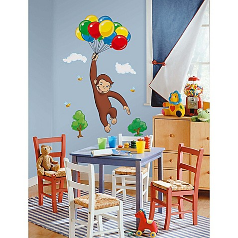 York wallcoverings curious george peel and stick giant for Curious george giant wall mural