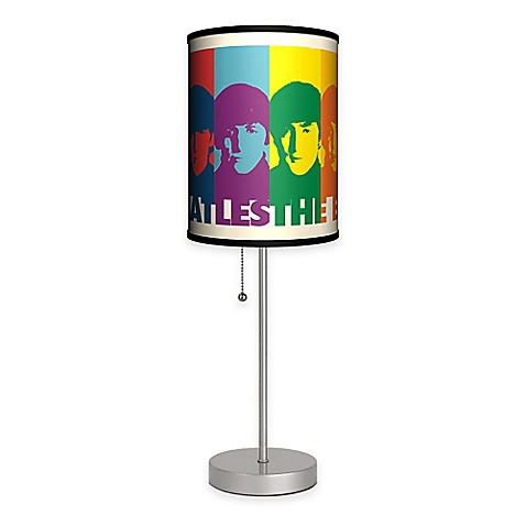The Beatles Color Faces Table Lamp With Matte Silver Base