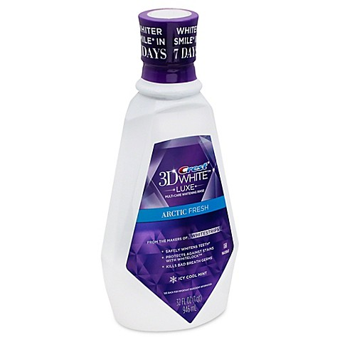 Crest 3D White Glamorous White Luxe Rinse Maintain a healthy smile with Crest 3D White Glamorous White Luxe Rinse in a Fresh Mint flavor. With a unique triple-action formula, this multi-care whitening rinse safely freshens breath while whitening teeth and protecting against new stains.