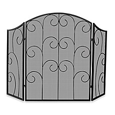image of UniFlame® S-1507 3-Fold Black Wrought Iron Fireplace Screen