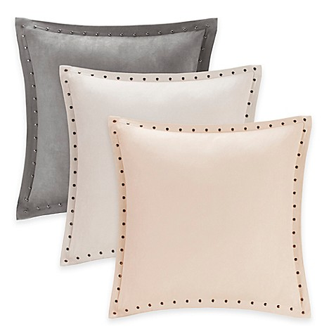 Madison Park Alban Stud Trim Microsuede Square Throw Pillow - Bed Bath & Beyond