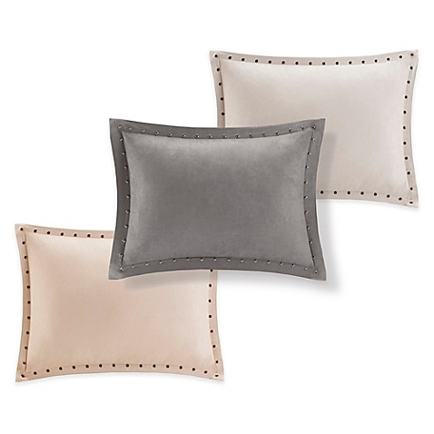 Throw Pillow Trim : Madison Park Alban Stud Trim Microsuede Oblong Throw Pillow - Bed Bath & Beyond