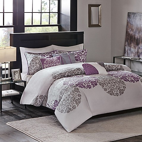 Madison Park Sydney Duvet Cover Set In Purple Bed Bath