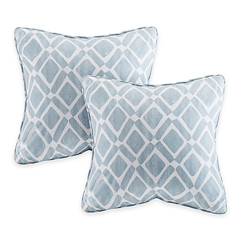 Madison Square 18-Inch Decorative Pillows : Buy Madison Park Delray Diamond Square Throw Pillow in Blue (Set of 2) from Bed Bath & Beyond