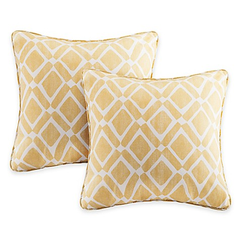 Buy Madison Park Delray Diamond Square Throw Pillow in Yellow (Set of 2) from Bed Bath & Beyond