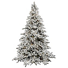 image of vickerman utica fir pre lit flocked christmas tree with warm white led lights - White Pre Lit Christmas Tree