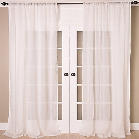 buy aura 108 inch solid sheer window curtain panel in white from bed bath beyond. Black Bedroom Furniture Sets. Home Design Ideas