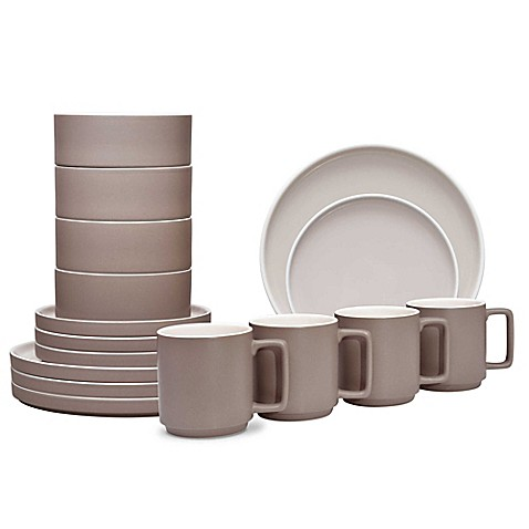image of noritake colortrio stax 16piece dinnerware set in clay - White Dinnerware Sets
