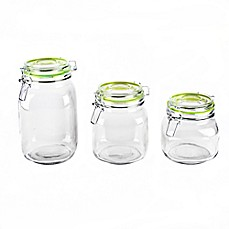 image of Blue Harbor 3-Piece Glass Canister Set with Green Clip Lids