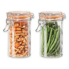 image of Oggi™ 2-Piece Glass Canisters with Clamp Lid Set