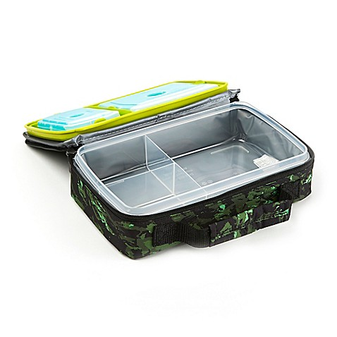 fit and fresh bento lunch box kit in green camo bed. Black Bedroom Furniture Sets. Home Design Ideas