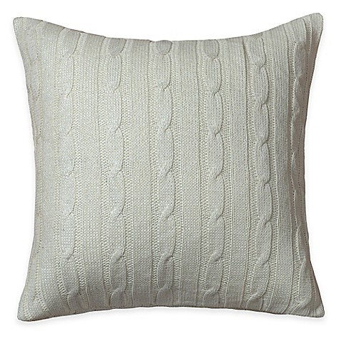 Buy Rizzy Home Cable Knit Square Throw Pillow in Cream/Silver from Bed Bath & Beyond