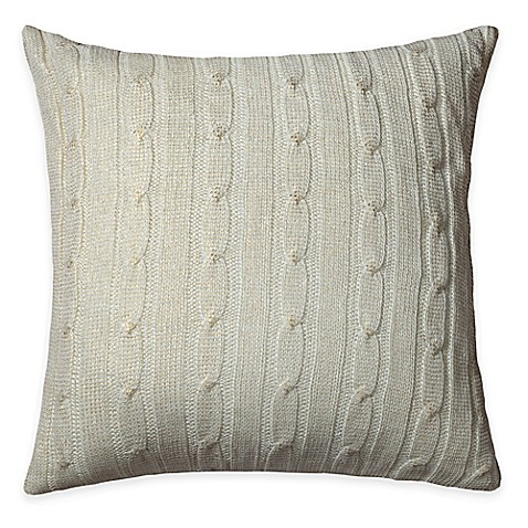 Buy Rizzy Home Cable Knit Square Throw Pillow in Cream/Gold from Bed Bath & Beyond