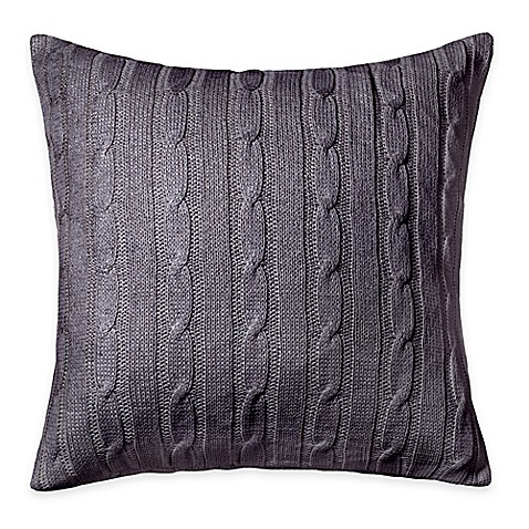 Buy Rizzy Home Cable Knit Square Throw Pillow in Grey/Silver from Bed Bath & Beyond