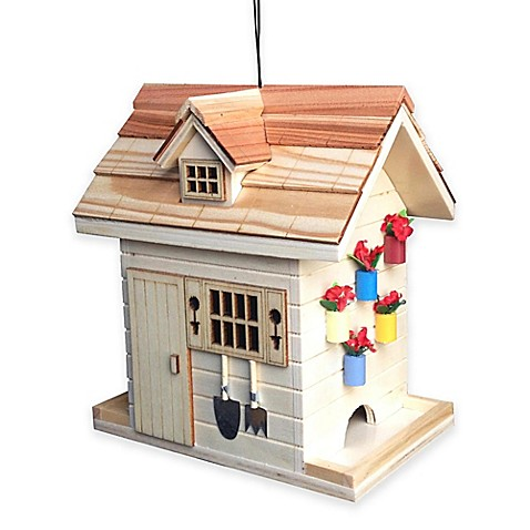 Buy home bazaar potting shed bird feeder in natural from for Buy potting shed