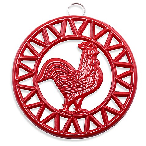 Old Dutch International Two Tone Rooster Trivet In Red Bed Bath
