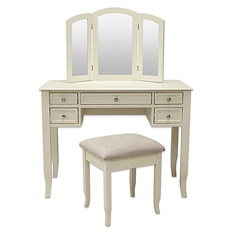 vanity set for teenager. image of Charlotte 2 Piece Vanity Set with Power Strip and USB Sets  Benches Bed Bath Beyond