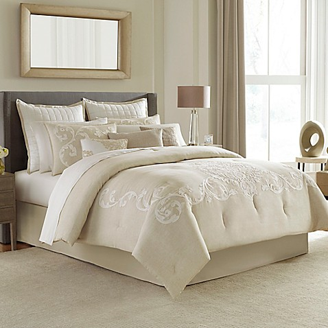 Manor hill verona comforter set in natural bed bath - Bed bath and beyond bedroom furniture ...
