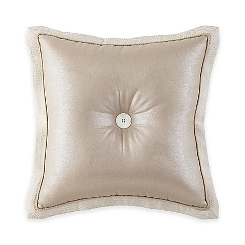 Throw Pillows With Buttons : Waterford Linens Genevieve Button Square Throw Pillow in Taupe - Bed Bath & Beyond