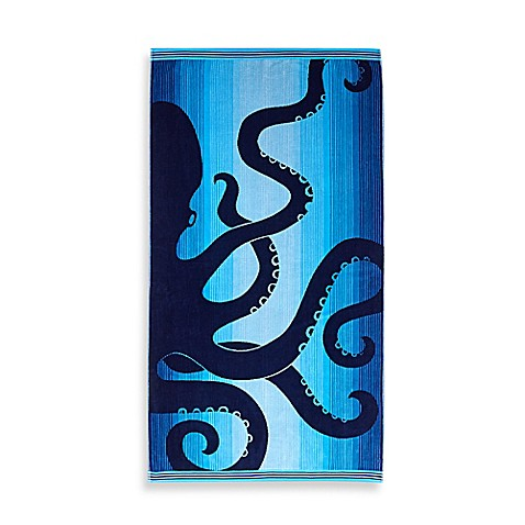 image of ombre octopus oversized beach towel in blue - Beach Towel