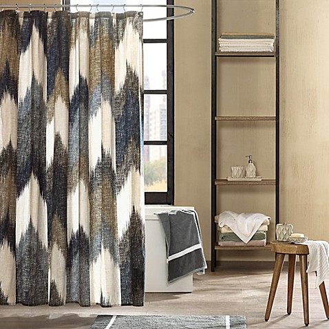 navy and tan shower curtain. INK IVY Alpine Printed Shower Curtain in Navy  Bed Bath Beyond