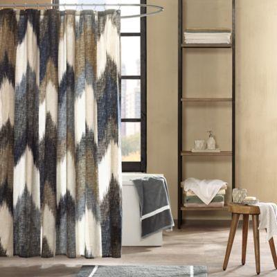 INKIVY Alpine Printed Shower Curtain in Navy Bed Bath Beyond