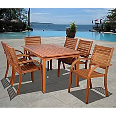 Image Of Arizona 7 Piece Eucalyptus Outdoor Patio Dining Set In Natural Wood