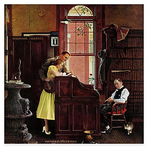 Norman Rockwell Marriage License Canvas Wall Art Bed