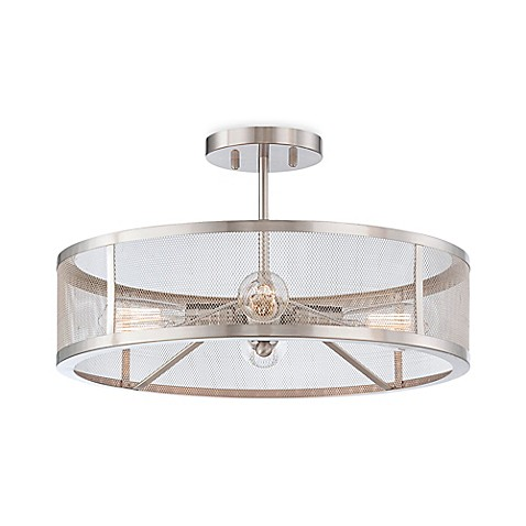 Buy minka lavery downtown edison 4 light semi flush mount ceiling fixture in brushed nickel for Edison bathroom light fixtures