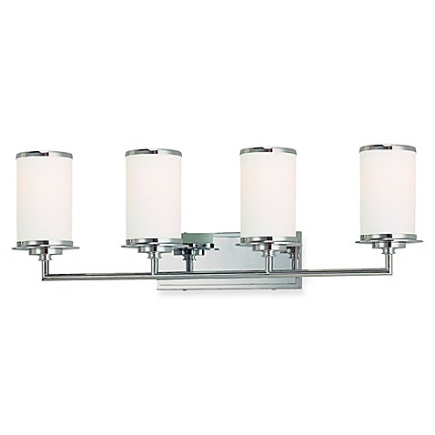 Buy minka lavery glass note 4 light wall mount bath fixture in chrome with glass shade from for Minka bathroom light fixtures