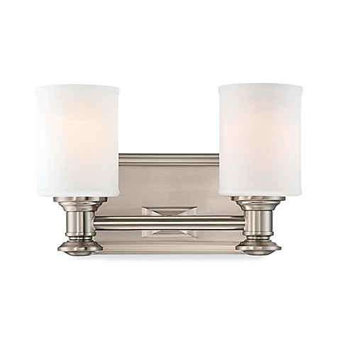 Buy minka lavery harbour point 2 light wall mount bath fixture in brushed nickel with glass for Minka bathroom light fixtures