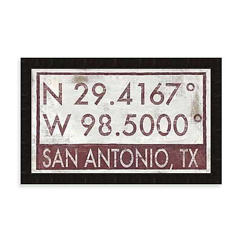 San Antonio Texas Coordinates Framed Wall Art Bed Bath