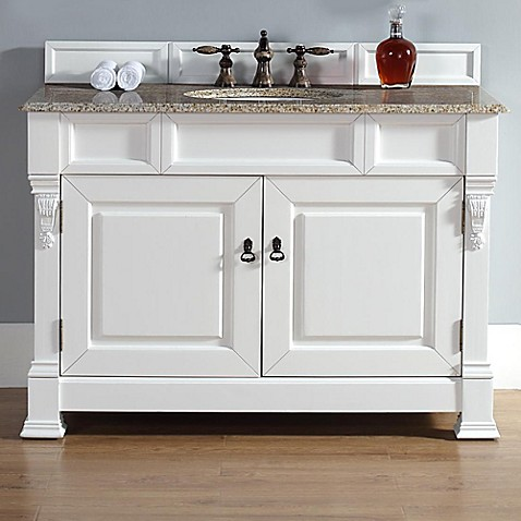 brookfield 48 inch single vanity with stone top in cottage white