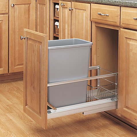 rev a shelf 35 quart pull out waste container in aluminum. Black Bedroom Furniture Sets. Home Design Ideas