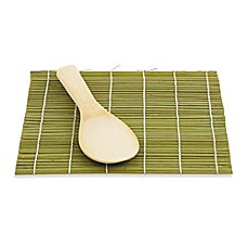 image of Helen Chen's Asian Kitchen Bamboo Sushi Mat and Paddle Set